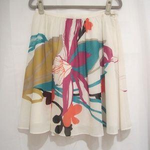 "Club Monaco 6 Floral Silk Skirt A Line Pleated 29"""